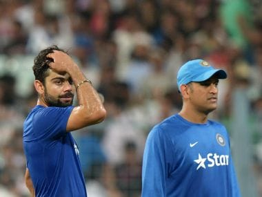 Virat Kohli and MS Dhoni. AFP