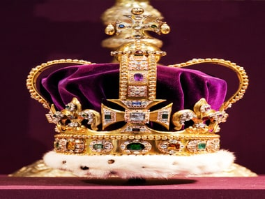 The St Edward's crown, used in coronations of British monarchs/ AFP