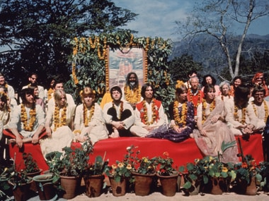 The Beatles and their wives at the Rishikesh with the Maharishi Mahesh Yogi in 1968. Getty Images