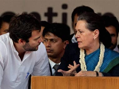 Sonia Gandhi (left) with Rahul Gandhi of the Congress party. PTI