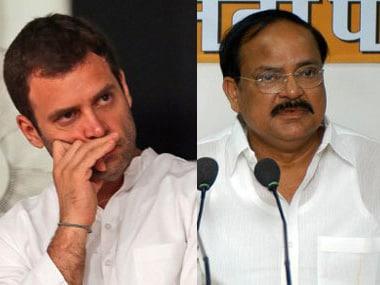 File image of Rahul Gandhi and M Venkaiah Naidu. AFP