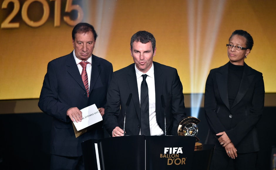 FC Barcelona technical director Robert Fernandez delivers a speech as he accepts for FC Barcelona Spanish coach Luis Enrique Martinez the 2015 FIFA World Coach of the Year for Men's Football award. AFP