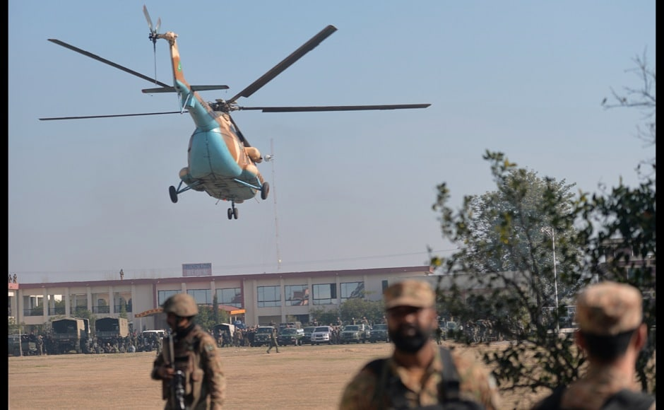 An army helicopter arrives at Bacha Khan university following an attack by militants in Charsadda, about 50 kilometres from Peshawar. AFP PHOTO