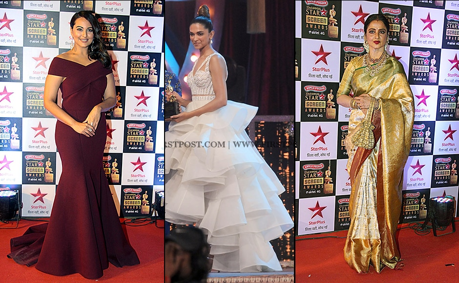 Sonakshi Sinha , Deepika Padukone were seen in designergowns along with Rekha who as usual opted for a golden embellished sari at the Screen Awards held in Mumbai on 8 January. (Sachin Gokhale/Firstpost and Solaris Images)