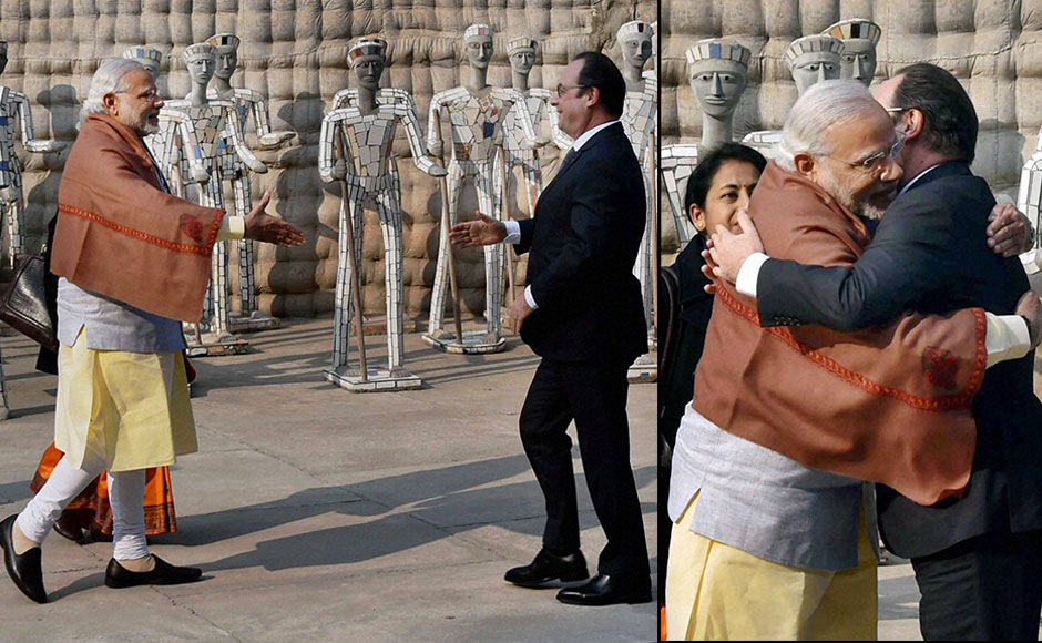 Chandigarh: French President Francois Hollande is greeted by Prime Minister Narendra Modi at the Rock Garden of Chandigarh on Tuesday. PTI Photo by Atul Yadav