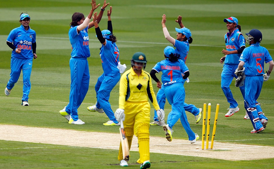 The women's team celebrate as pacer Jhulan Goswami takes a wicket. Getty Images