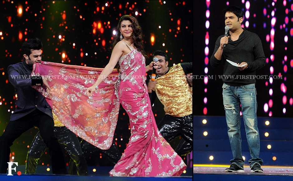 Jacqueline Fernandes stuns in a pink saree while Kapil Sharma has the audience in splits. Sachin Gokhale/Firstpost