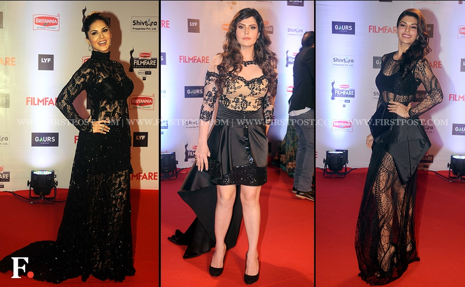 Ladies in Black: Sunny Leone, Zarine Khan, Jacqueline Fernandez.Firstpost/Sachin Gokhale