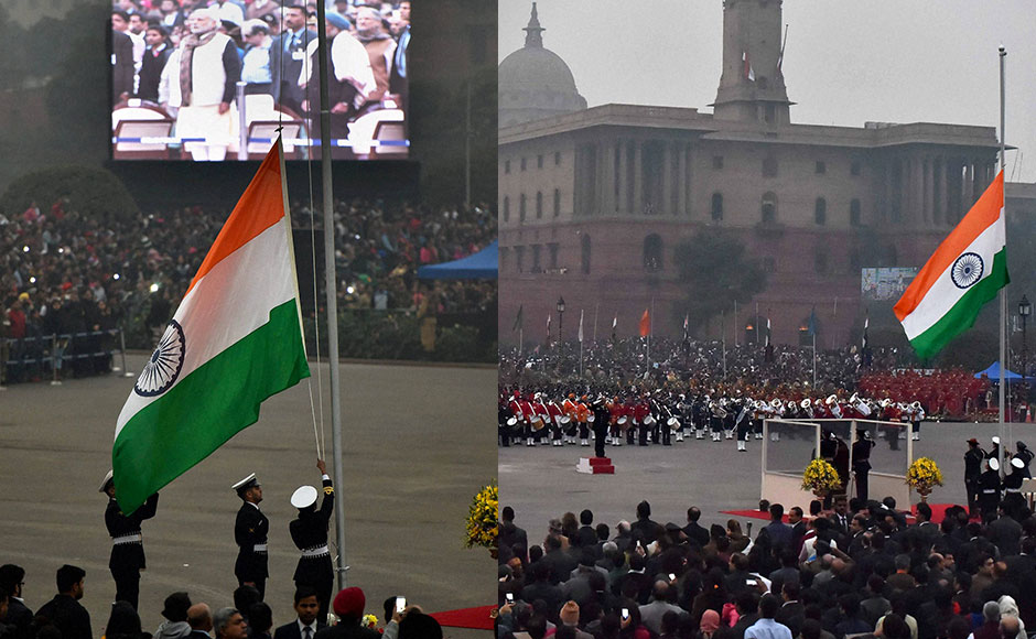 Soldiers folding up the Tri-colour after the Beating Retreat ceremony. PTI