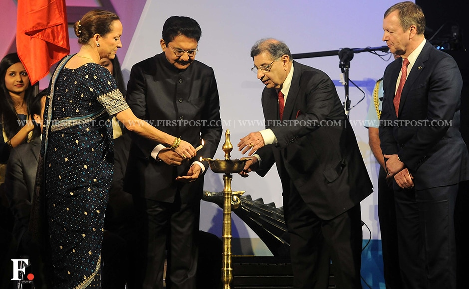 Governor of Maharashtra Dr. Vidyasagar Rao and Princess Zahra Aga Khan light the ceremonial lamp. Firstpost/Sachin Gokhale