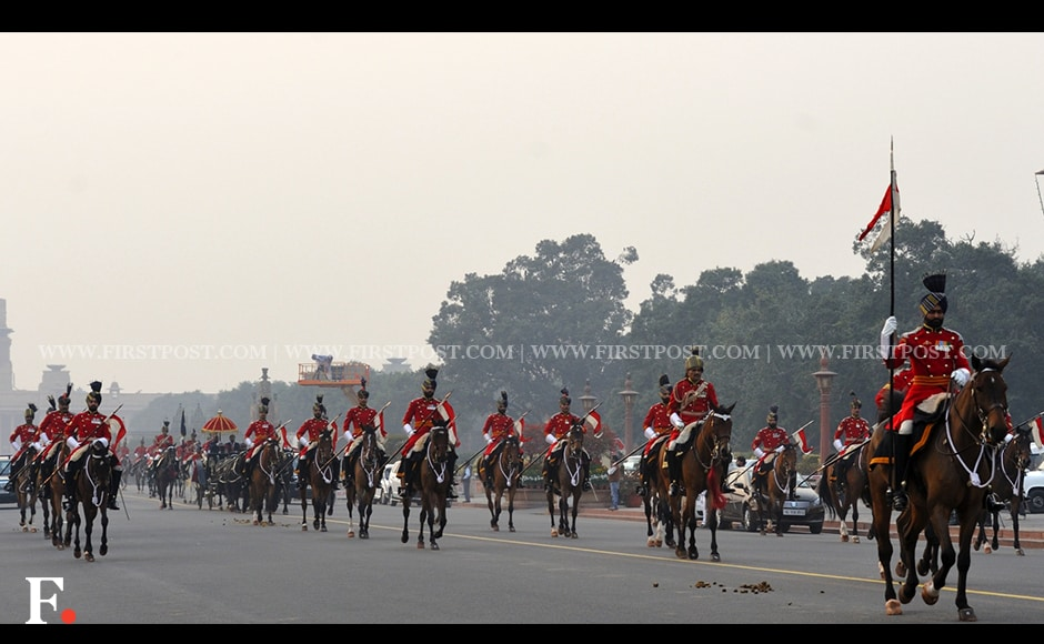 President Pranab Mukherjee's buggy arrives during the full dress rehearsal for the Beating Retreat ceremony. Firstpost/Naresh Sharma