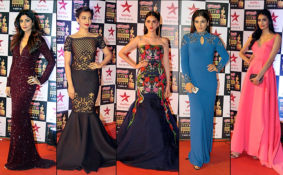 Shilpa Shetty wore a wine colored gown flaunting her curves, while Radhika Apte went for a classicmermaid gown, Wazir actress Aditi Rao Hydari sported a tube-style gown with heavy embroidery. Raveena Tandon went for a blue gown, Athiya Shetty was pretty in pink. Solaris Images.