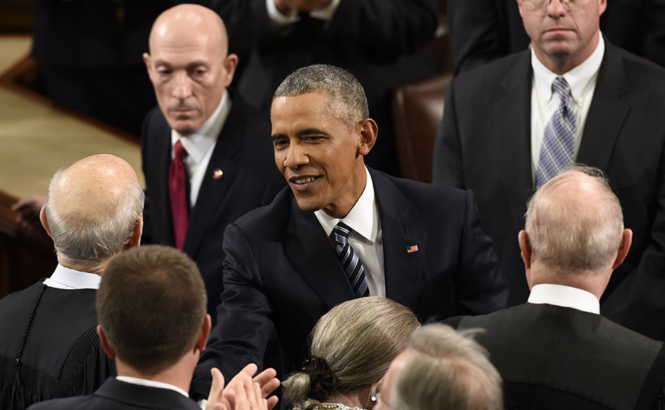 US President Barack Obama arrives to deliver his final State of the Union Address. The president's address to both chambers of Congress and a prime-time television audience was meant to both shape his legacy and put his imprint squarely on the race to succeed him. AFP