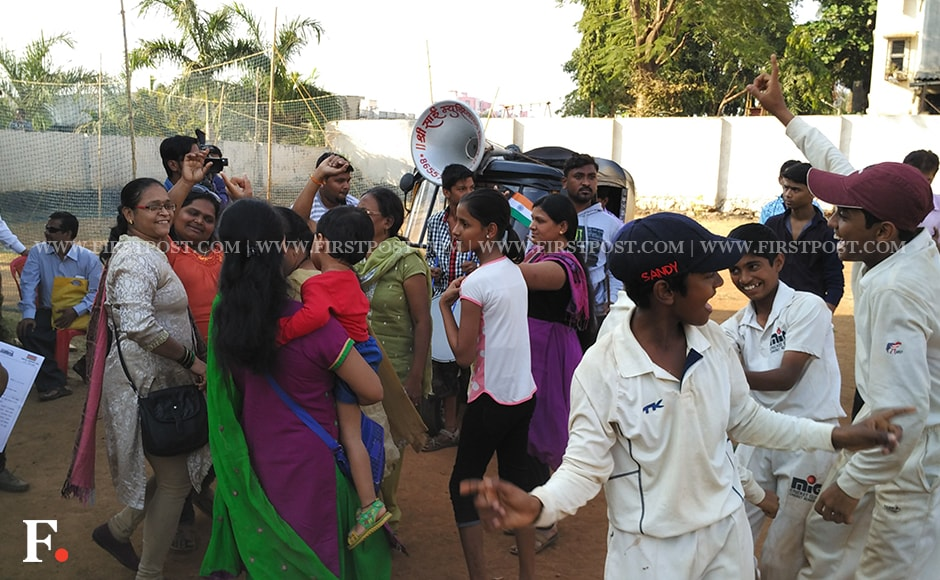 Pranav's teammates, friends and family celebrate the incredible feat. Jigar Mehta/Firstpost