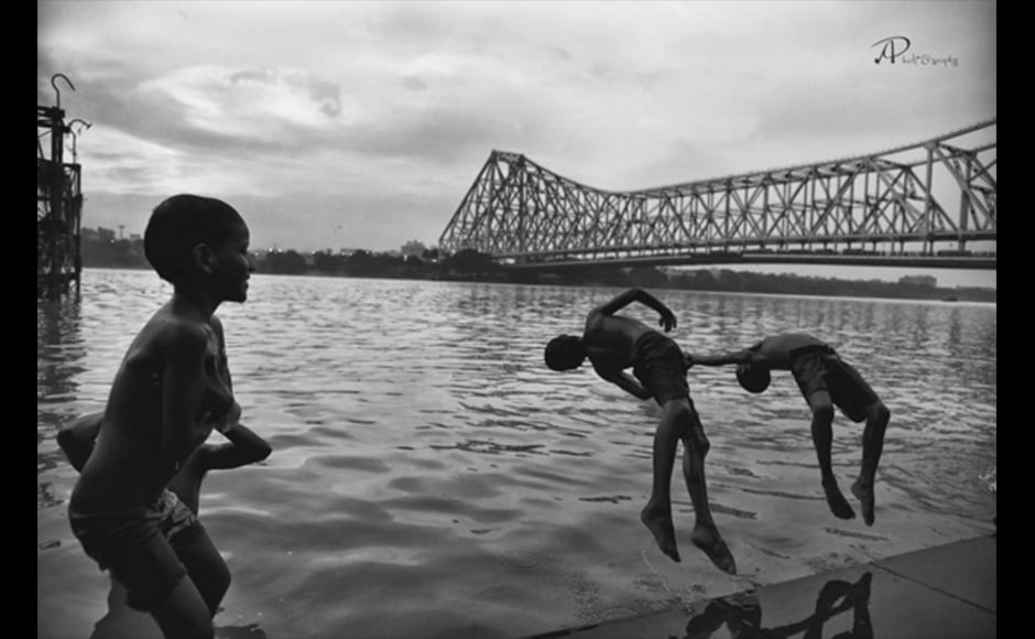 Graphic designer Arpita Pramanick, 24, beautifully captures the essence of summer in Kolkata in this photograph. Shot at Mullick Ghat, the photo shows local children playfully jumping into the Ganges against the backdrop of the Howrah bridge.