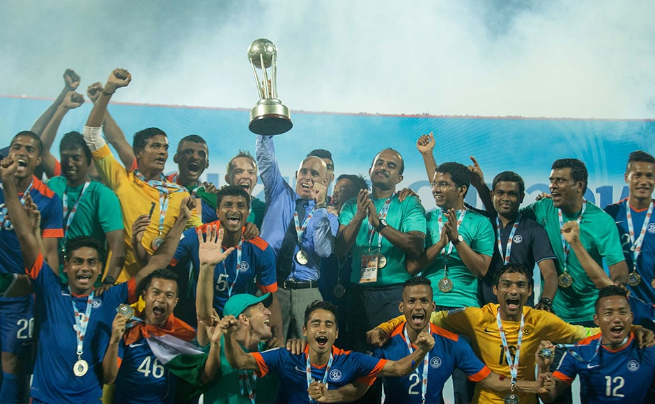 Just like the 2011 edition of the tournament, Jeje Lalpekhlua and Sunil Chhetri scored on the night to reclaim the trophy and avenge the 2013 loss to the same opponents. Photo Credit: WSG