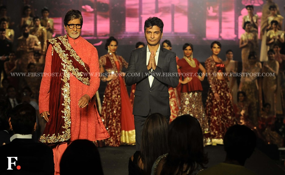 Amitabh Bachchan, and Vikram Phadnis, who completes 25 years in the fashion industry. Firstpost/Sachin Gokhale