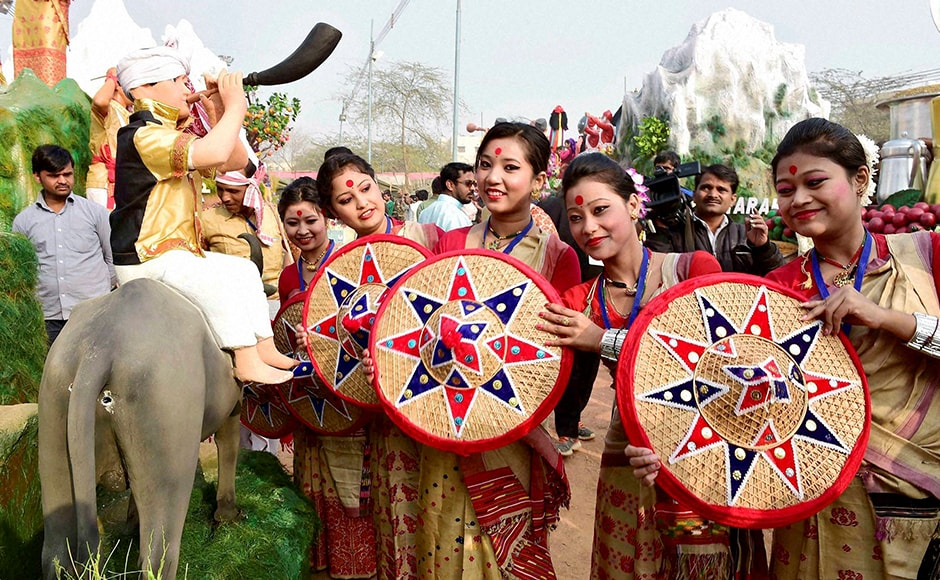 That's the japi which the Bihu dancers from Assam hold in their hands as they pose in front of their tableau for the Republic Day parade during a press preview in New Delhi on Friday. PTI
