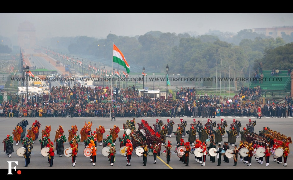 Indian forces during the full dress rehearsal for Beating Retreat ceremony. Firstpost/Naresh Sharma