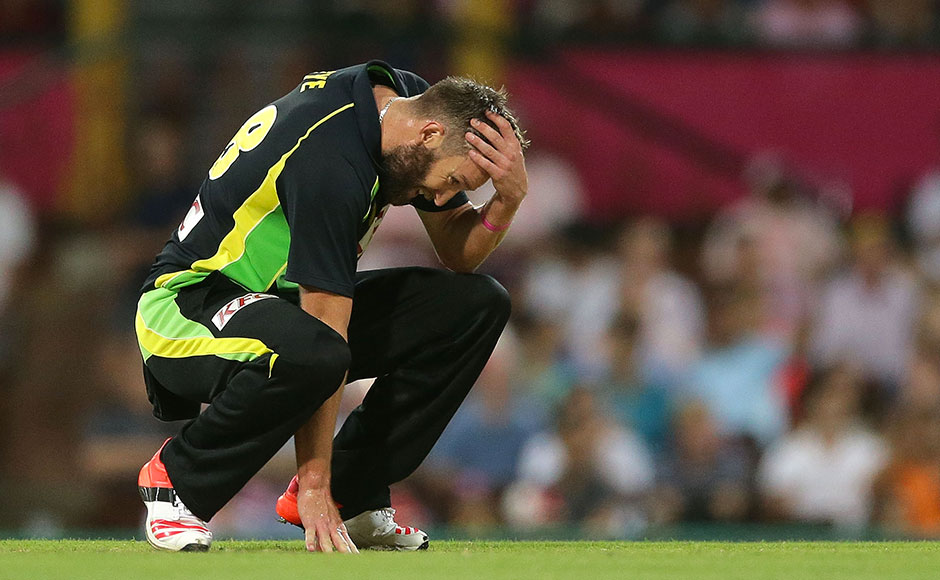 Australian pacer Andrew Tye was left disappointed after giving away 19 runs in the final over. Getty