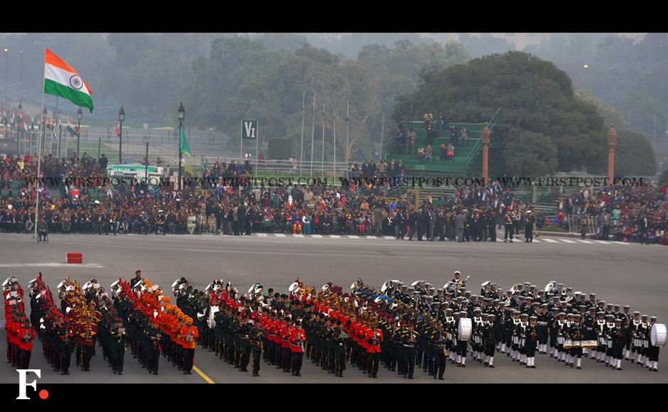 Army band perform during full dress rehearsal for the Beating Retreat ceremony. Firstpost/Naresh Sharma