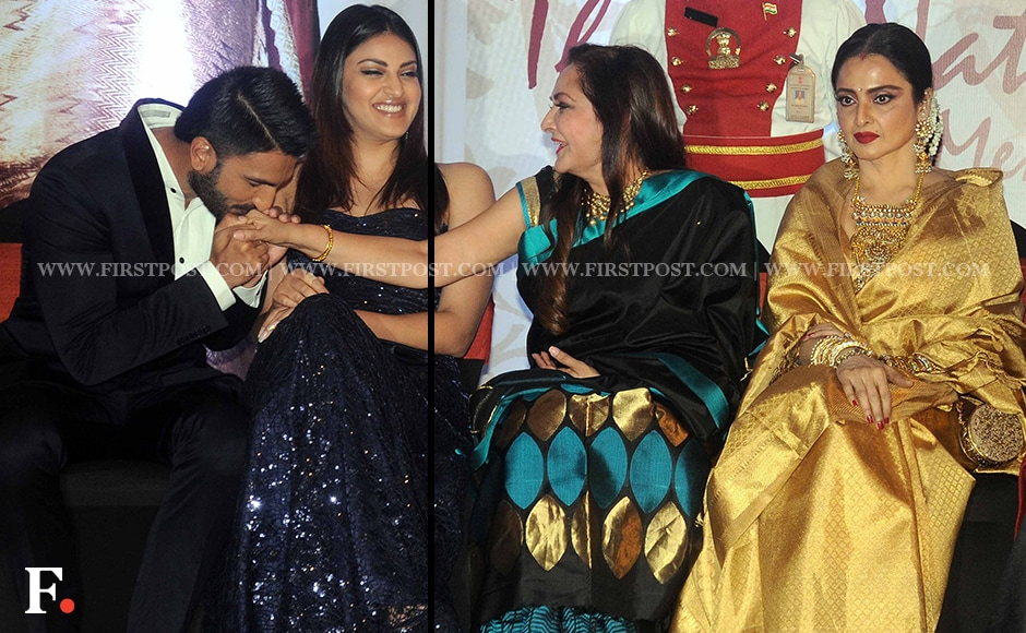 Ranveer Singh and Jaya Prada share a light moment at the event. Jaya Prada was one of the members of the Jury constituted to zero in on this year's awardee. Other members included Pamela Chopra, Simi Garewal, Boney Kapoor, Pinki Reddy and T Subbarami Reddy himself as its chairman. The Jury unanimously decided that Rekha should be the recipient of the award this year. Firstpost/Sachin Gokhale