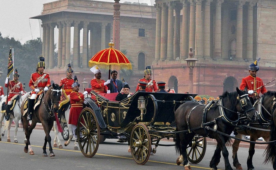 President Pranab Mukherjee leaving from Rashtrapati Bhavan to attend the Beating Retreat ceremony. PTI
