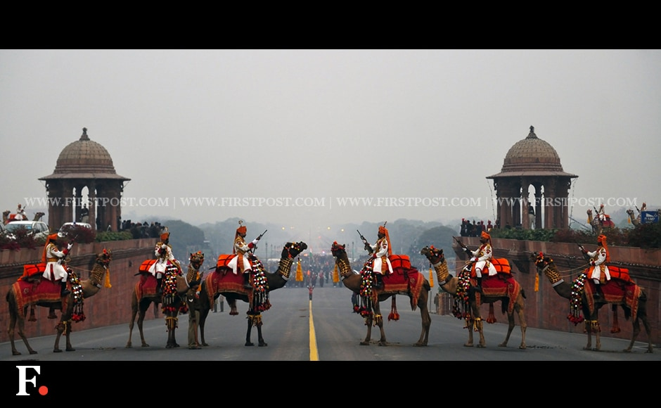 BSF soldiers on camels participate in the rehearsal for the Beating Retreat ceremony. Firstpost/Naresh Sharma