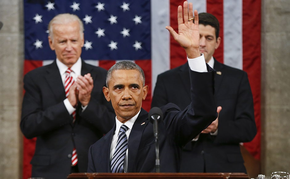 US President Barack Obama delivered his final State of the Union address to a joint session of Congress urging Americans to rekindle their belief in the promise of change that first carried him to the White House. AP
