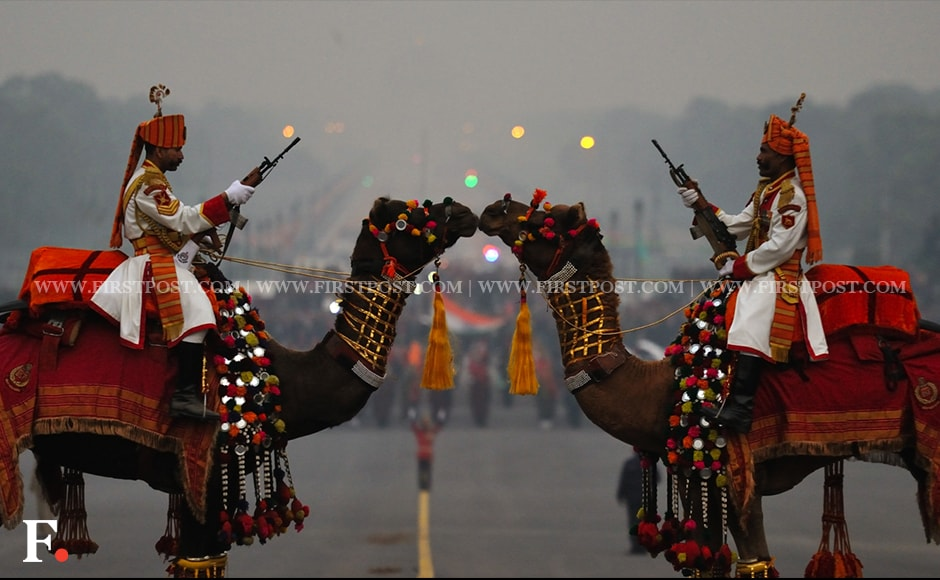 BSF soldiers participate in the full dress rehearsal for the Beating Retreat ceremony. Firstpost/Naresh Sharma