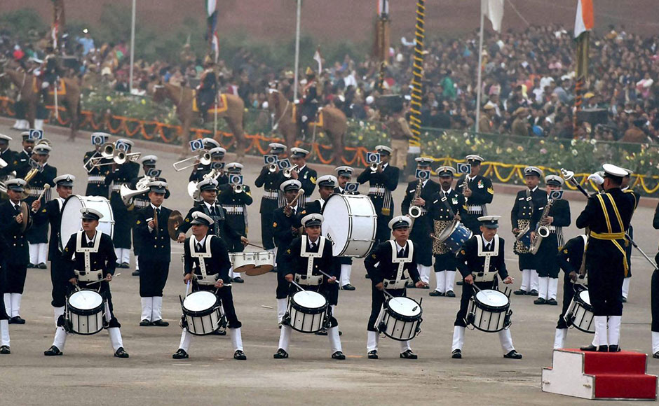 The  ceremony saw a musical performance by troupes from the armed forces. The Naval brass band is seen here performing during the ceremony. PTI
