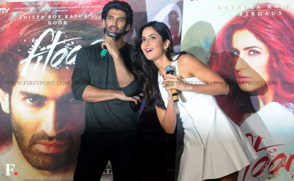 Aditya Roy Kapoor and Katrina Kaif talk to the press at the launch of the first look of their next film Fitoor. This is the first time the two have been paired opposite each other on screen. Sachin Gokhale/Firstpost