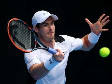 Andy Murray in action at the Australian Open. Getty