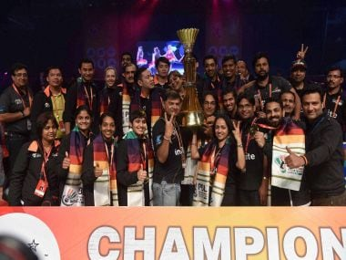 Delhi Acers team with Trophy after winning the Premier Badminton League . PTI