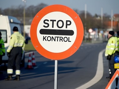 Danish police set up a border control point to check refugee inflow at the town of Krusa bei Flensburg on the border with Germany in a file photo. AFP