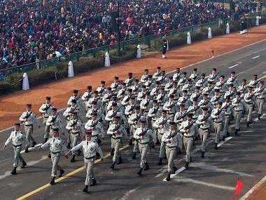 French soldiers march at Rajpath during the full dress rehearsal of the Republic Day parade, in New Delhi. AP