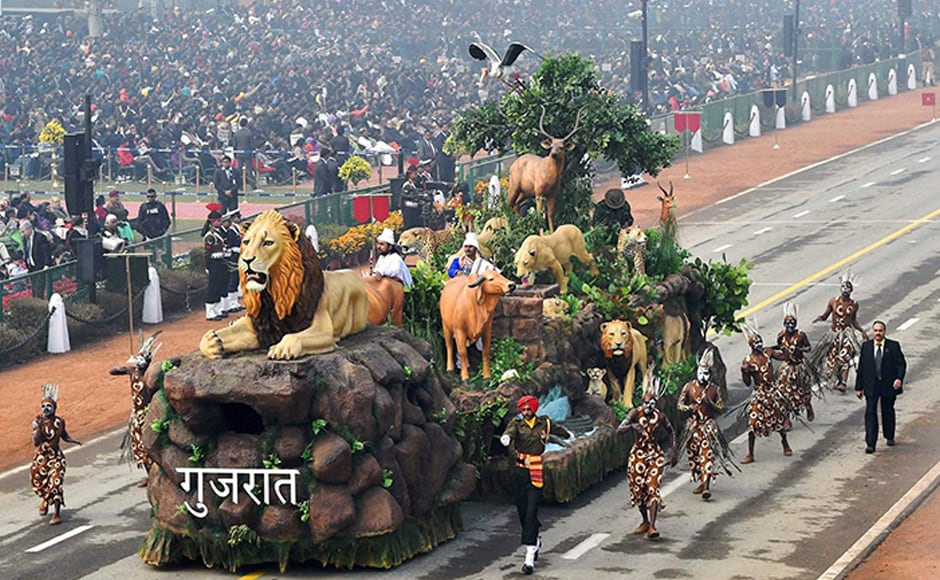The Gujarat tableau showcased the importance of environment and wildlife as it depicted the variety of the Gir forest. PTI