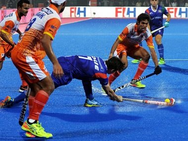 UP Wizards and Kalinga Lancers players in action at their Hockey India League-2016 match in Bhubaneswar. PTI