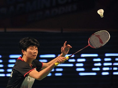 Han Li from China pulled off the sensational 15-8, 13-15 ,15-7 victory over Saina who is currently ranked world number two in Women's Singles. AFP