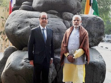 French President Francois Hollande (left) with PM Narendra Modi. PTI