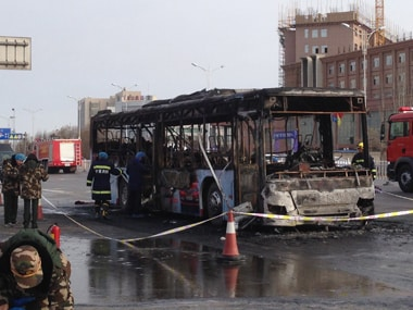 14 people in China were killed as a bus caught fire. AP