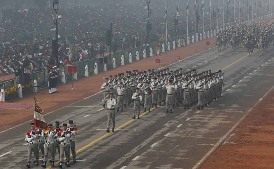 French soldiers march on Rajpath during the Republic Day parade in New Delhi. This is the first time foreign troops were part of the parade. French President Francois Hollande was the state guest for the celebrations. Prime Minister Narendra Modi invited Hollande in a show of solidarity with France after attacks in Paris last November killed 130 — recalling a 2008 assault on Mumbai that killed 166. Hollande is the fifth French president to accept this honour. AP