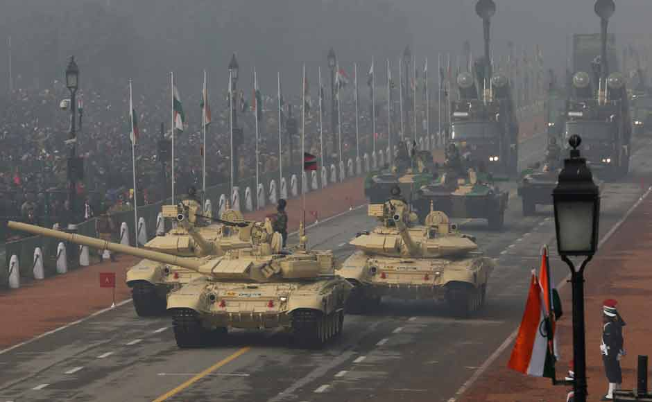 T-90 tanks roll down Rajpath during the Republic Day parade. Other weapons on display included the Infantry Combat Vehicle BMP II (Sarath), Mobile Autonomous Launcher of the BrahMos Missile System, Akash weapon system, Smerch Launcher Vehicles and Integrated Communication Electronic Warfare System. AP