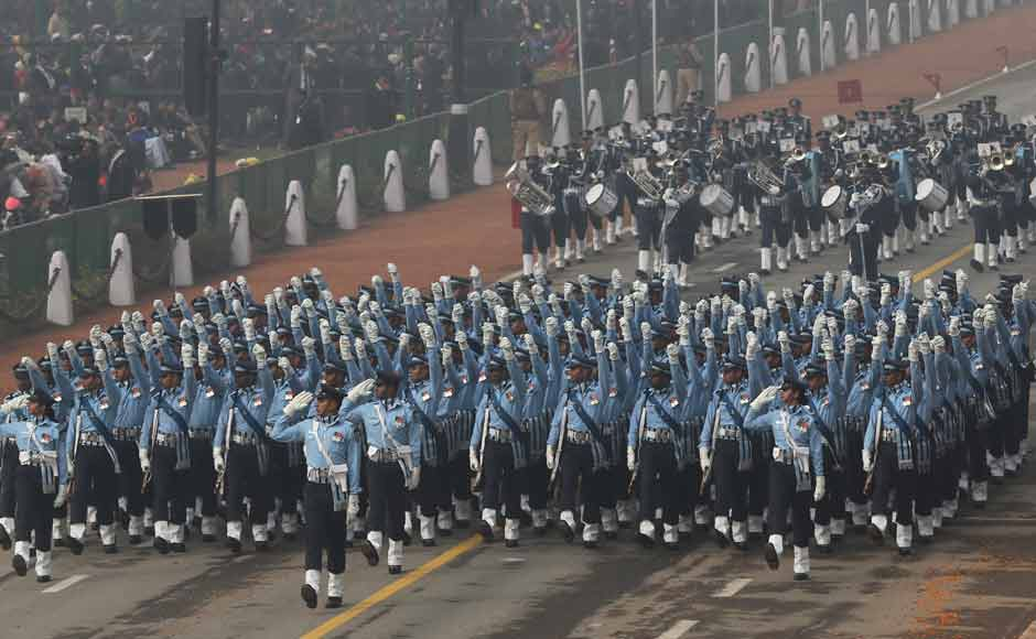 Indian security forces march during the Republic Day parade. The marching contingents of the army included horse-mounted columns of the 61st Cavalry, the Parachute Regiment, the Corps of Signals, the Rajput Regiment, the Garhwal Rifles, the Assam Regiment, 11 Gorkha Rifles and Remount Veterinary Corps Dog Squad. AP
