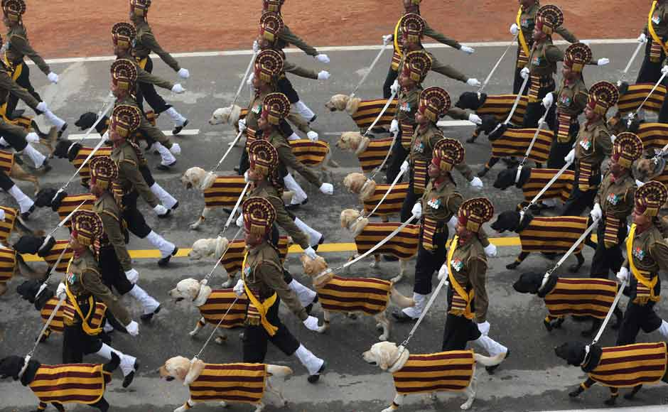 Another first, after a gap of 26 years, was the march by an Army dog squad drawn from the Remount Veterinary Corps along with their handlers. The dogs, draped in scarves which reminded one of the Griffindor House of Hogwarts, stole the show as they walked in perfect sync. AP
