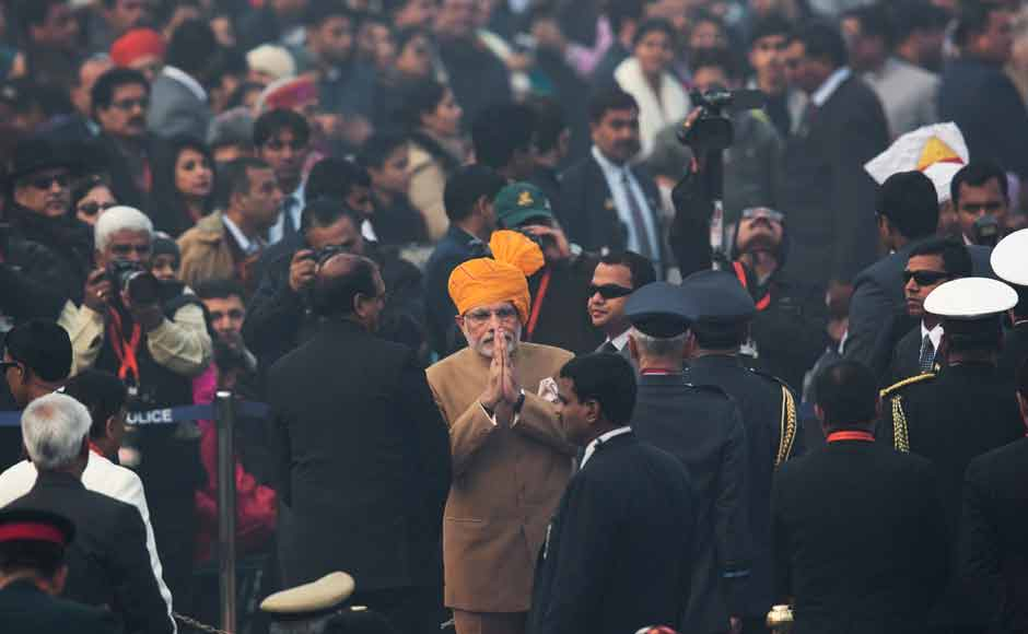 Prime Minister Narendra Modi greeted dignitaries as he arrived at the parade venue. As per tradition, the parade ceremony began at the Amar Jawan Jyoti at India Gate after the Prime Minister paid homage to martyrs by laying a wreath. AP
