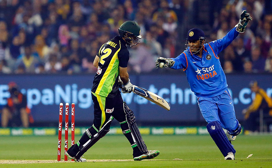 Captain MS Dhoni stumped outGlenn Maxwell at a crucial stage in the match. Getty Images