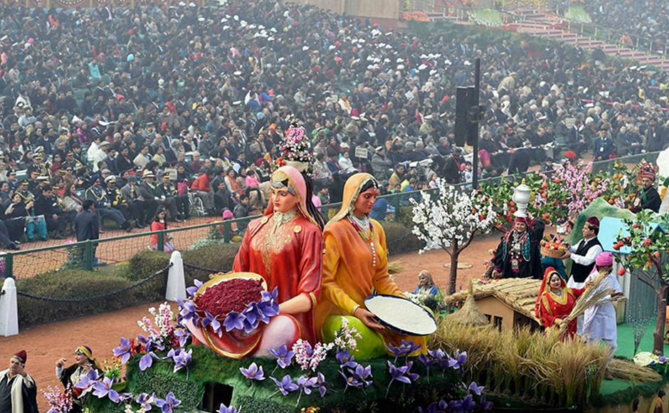 The Jammu and Kashmir tableau was based on the theme 'Mera Gaon, Mera Jahaan' and focussed on depicting women empowerment and development in the state. PTI
