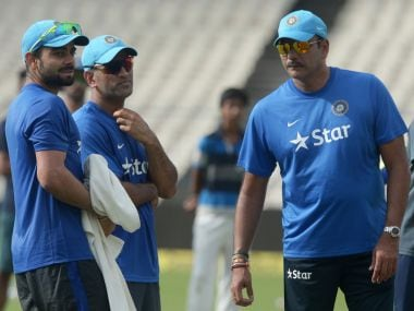 File image of MS Dhoni along with Virat Kohli and Ravi Shastri. AFP