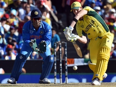 MS Dhoni and Steve Smith. AFP